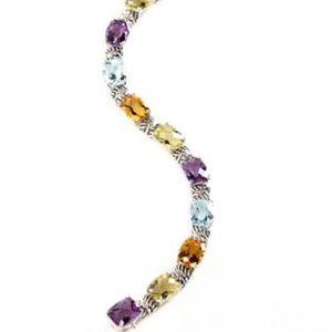 Sterling 14K YG Diamond Multi-Gemstone Bracelet
